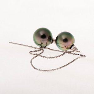 Boucles d oreilles argent perles de Tahiti