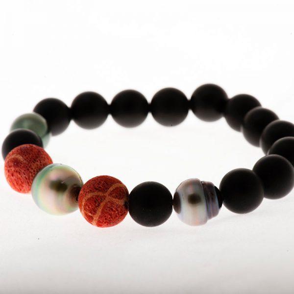 Bracelet agates noires Boules corail mousse perles Tahiti