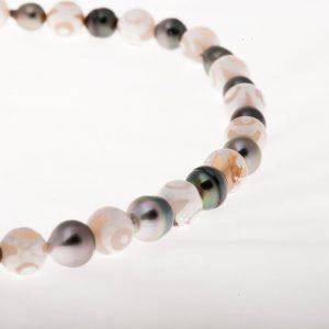 Agates Perles Tahiti baroques cerclées